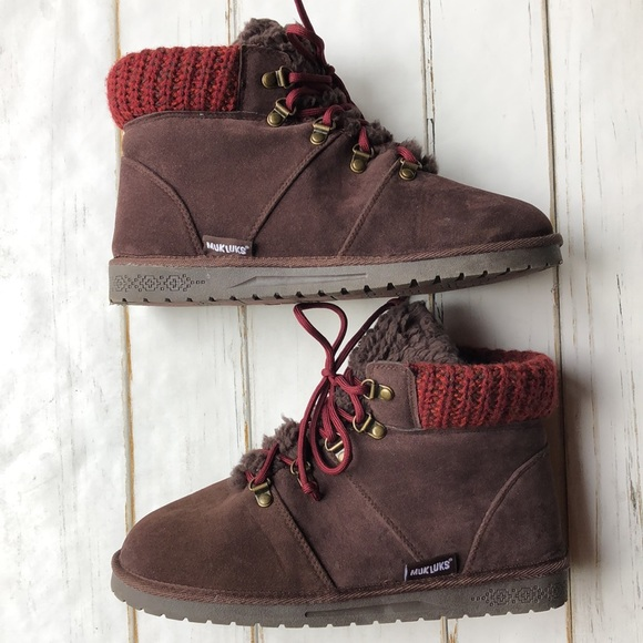 Muk Luks Lace Up Brown Harmony Bootie Size 10